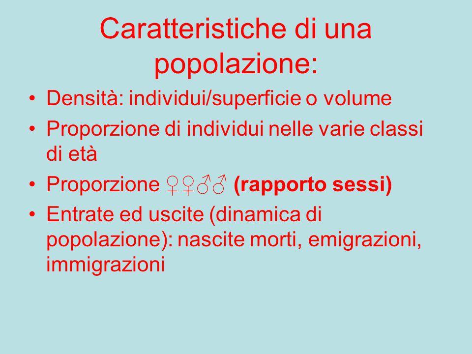 Caratteristiche di una popolazione: