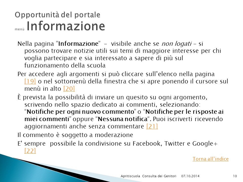 Opportunità del portale menù Informazione