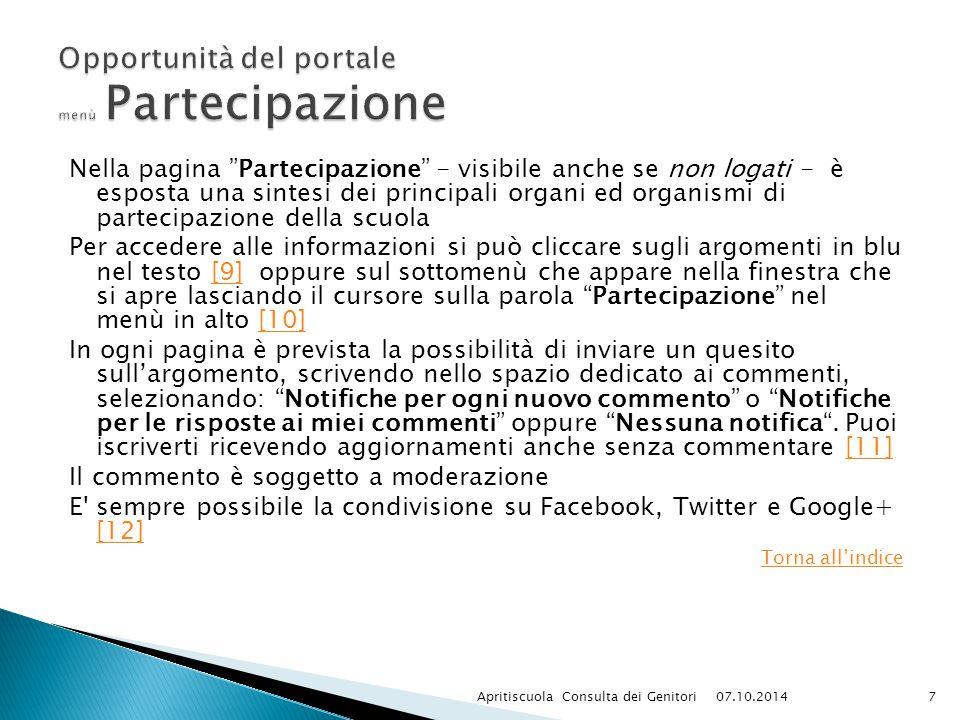 Opportunità del portale menù Partecipazione