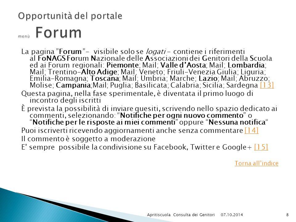 Opportunità del portale menù Forum