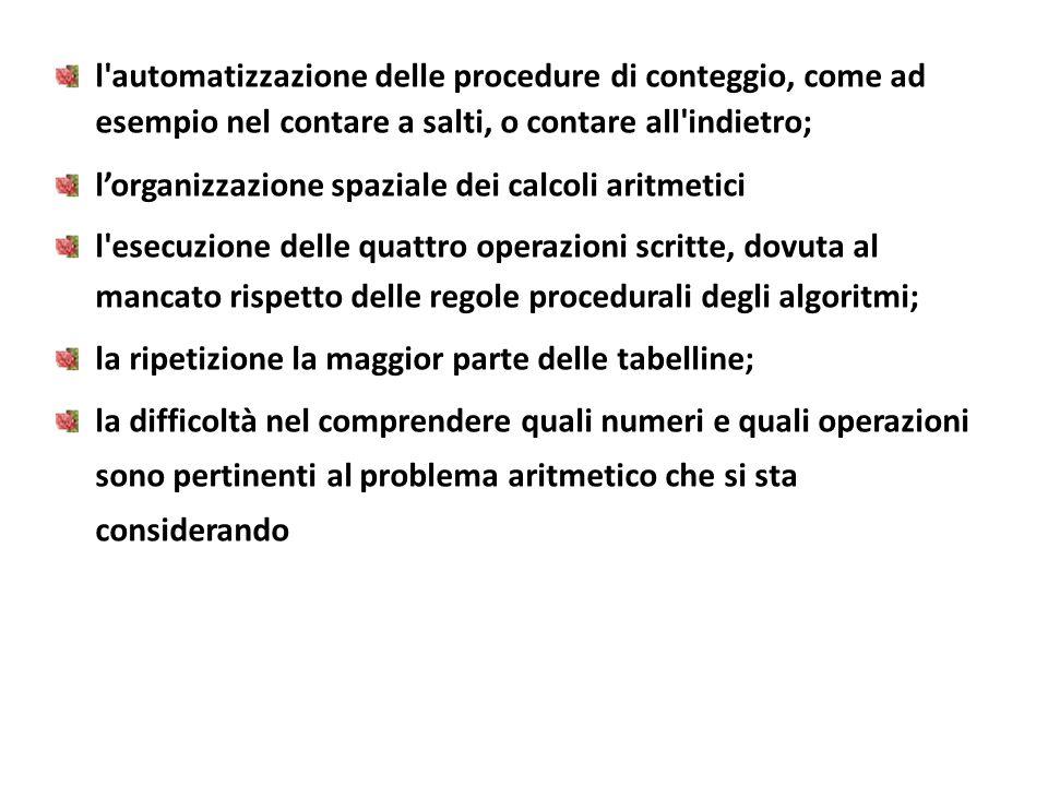 l automatizzazione delle procedure di conteggio, come ad esempio nel contare a salti, o contare all indietro;