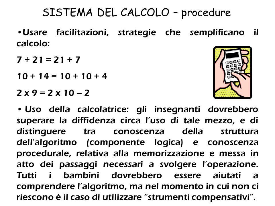 SISTEMA DEL CALCOLO – procedure