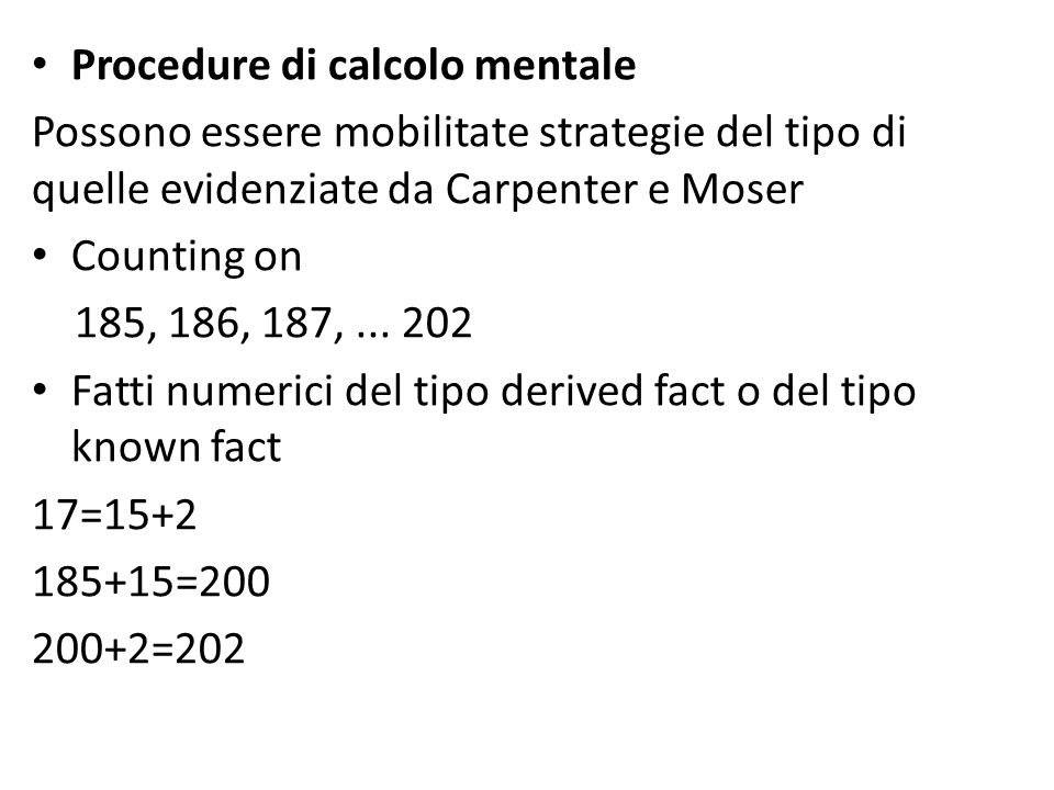Procedure di calcolo mentale