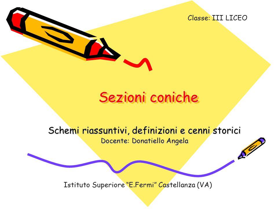 Sezioni coniche Schemi riassuntivi, definizioni e cenni storici