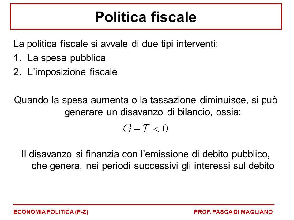 Politica fiscale La politica fiscale si avvale di due tipi interventi: