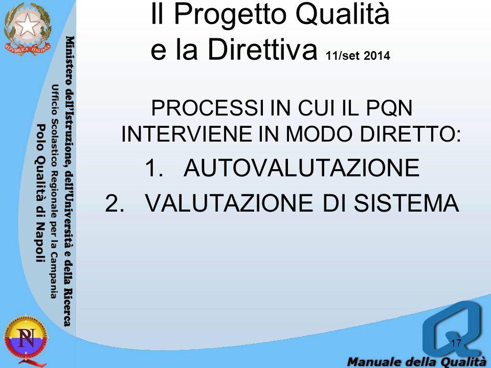 Il Progetto Qualità e la Direttiva 11/set 2014