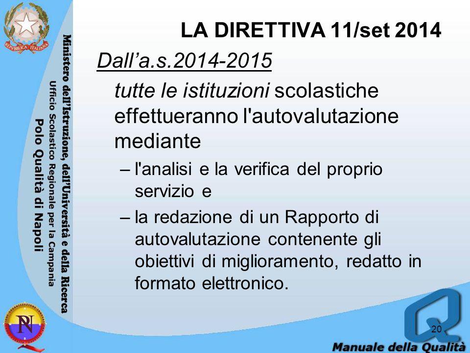 LA DIRETTIVA 11/set 2014 Dall'a.s.2014-2015