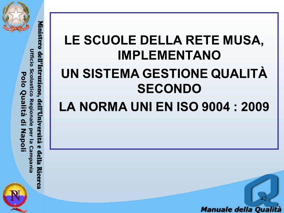LE SCUOLE DELLA RETE MUSA, IMPLEMENTANO UN SISTEMA GESTIONE QUALITÀ SECONDO LA NORMA UNI EN ISO 9004 : 2009
