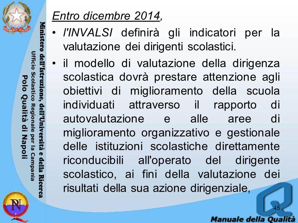 Entro dicembre 2014, l INVALSI definirà gli indicatori per la valutazione dei dirigenti scolastici.