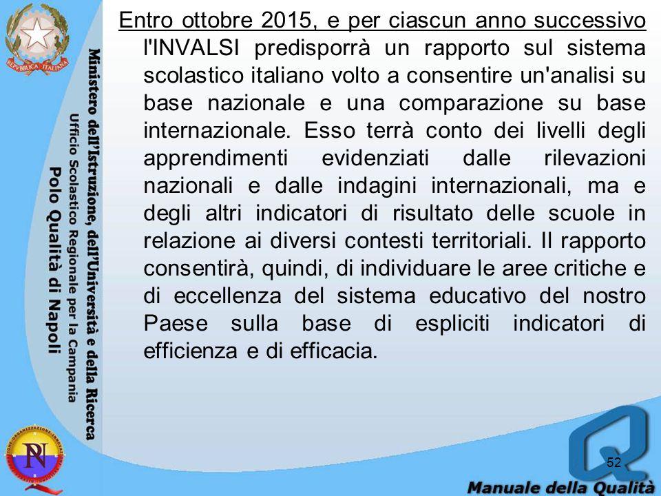 Entro ottobre 2015, e per ciascun anno successivo l INVALSI predisporrà un rapporto sul sistema scolastico italiano volto a consentire un analisi su base nazionale e una comparazione su base internazionale.