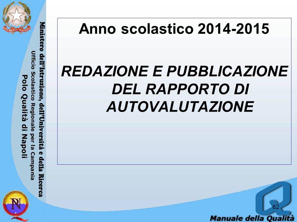 Anno scolastico 2014-2015 REDAZIONE E PUBBLICAZIONE DEL RAPPORTO DI AUTOVALUTAZIONE