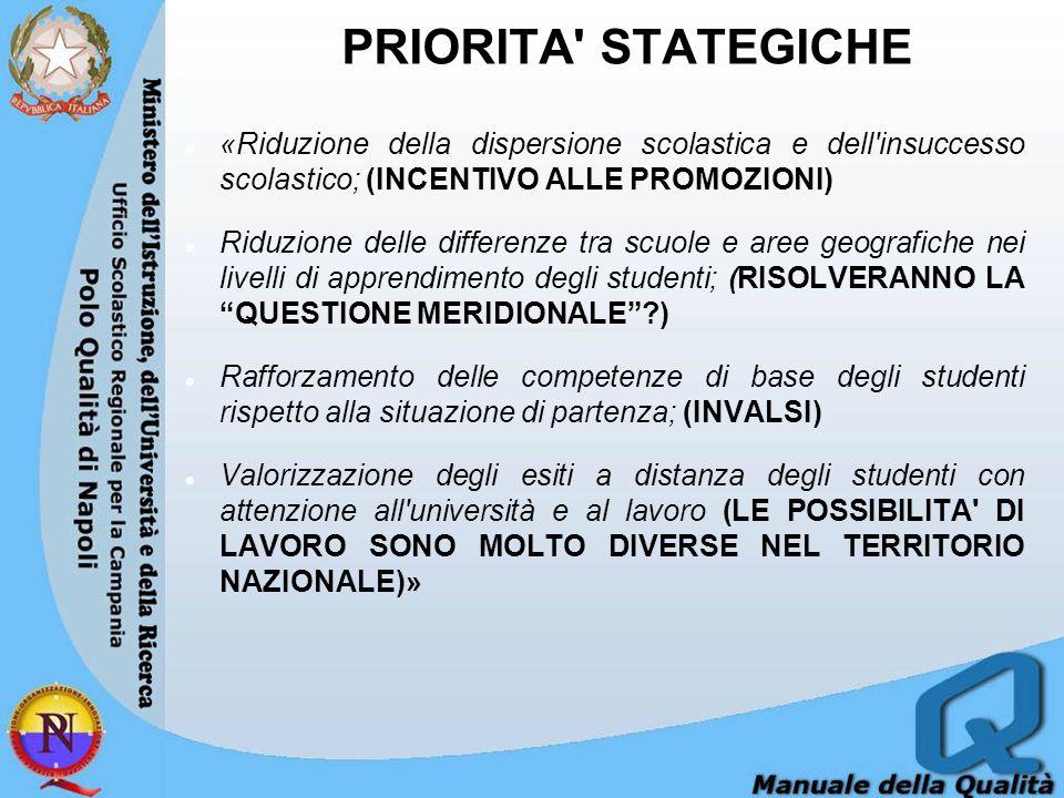 PRIORITA STATEGICHE «Riduzione della dispersione scolastica e dell insuccesso scolastico; (INCENTIVO ALLE PROMOZIONI)