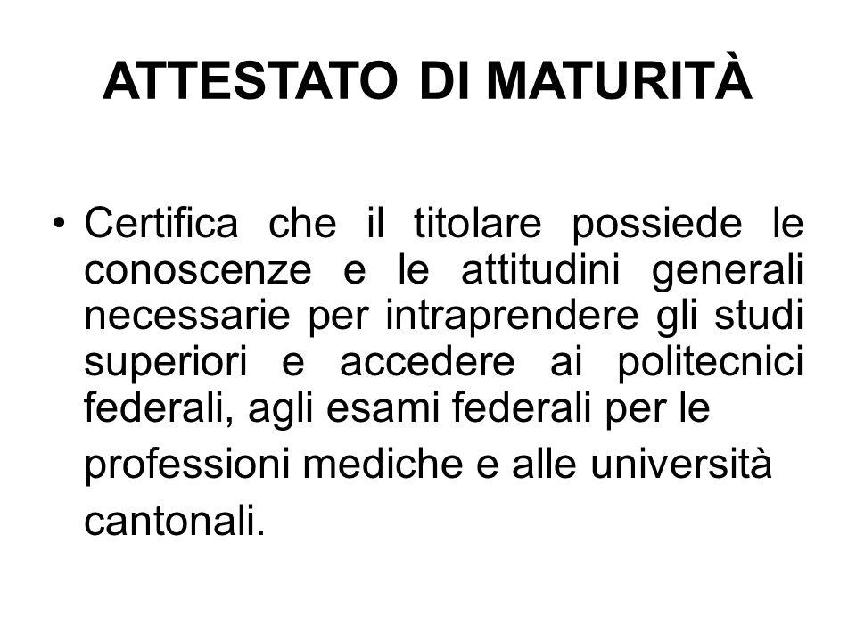 ATTESTATO DI MATURITÀ