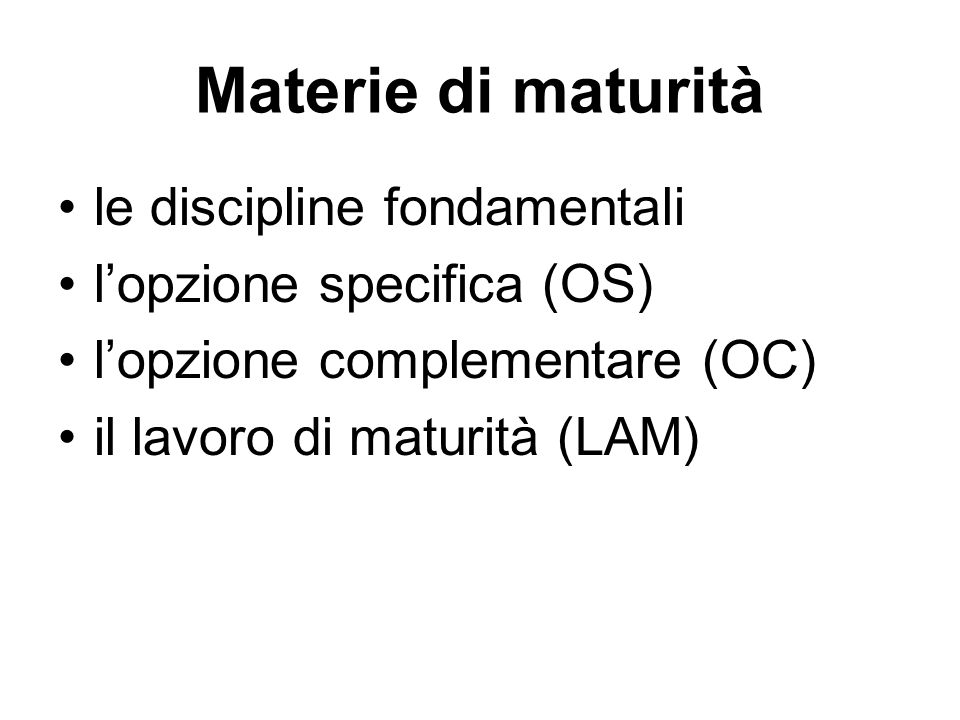 Materie di maturità le discipline fondamentali