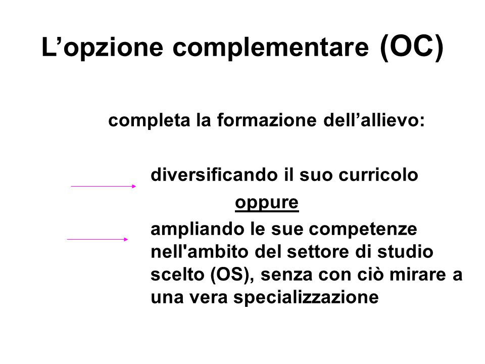 L'opzione complementare (OC)