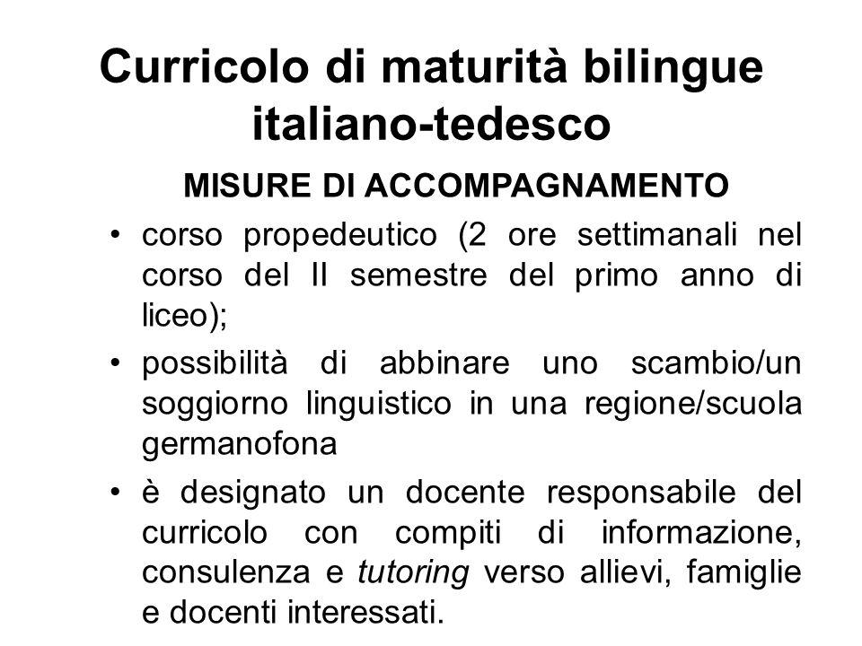 Curricolo di maturità bilingue italiano-tedesco