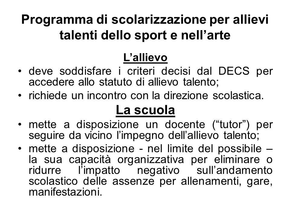 Programma di scolarizzazione per allievi talenti dello sport e nell'arte
