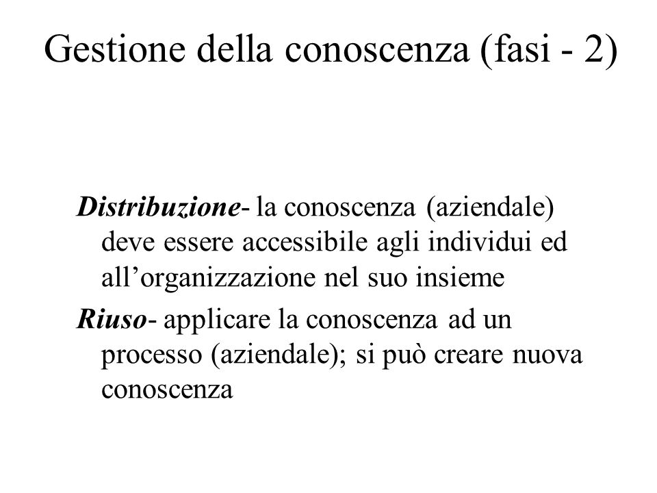 Gestione della conoscenza (fasi - 2)