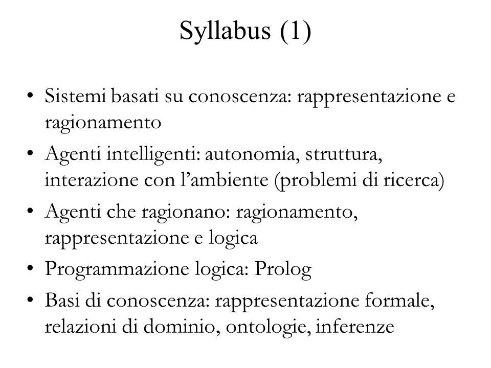 Syllabus (1) Sistemi basati su conoscenza: rappresentazione e ragionamento.
