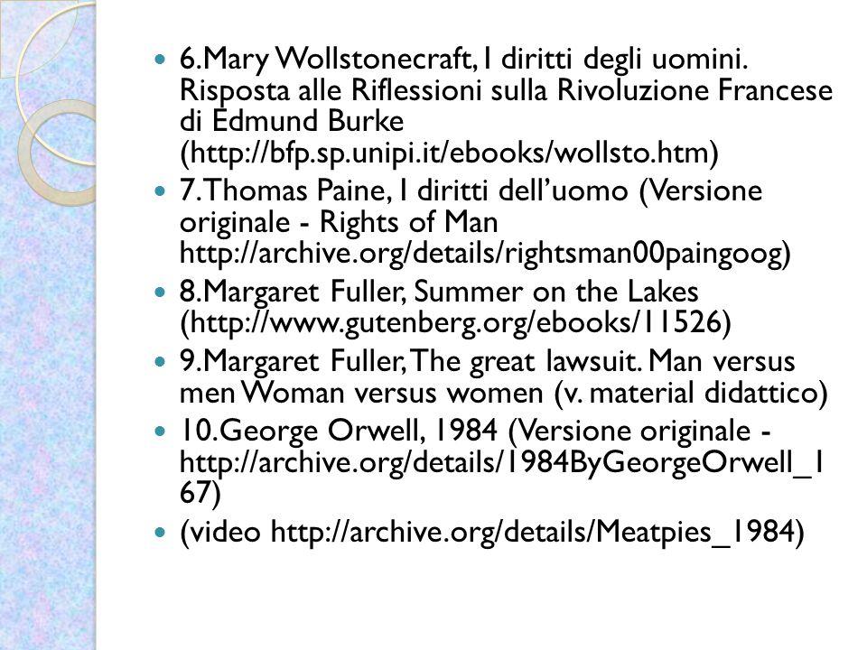 6. Mary Wollstonecraft, I diritti degli uomini