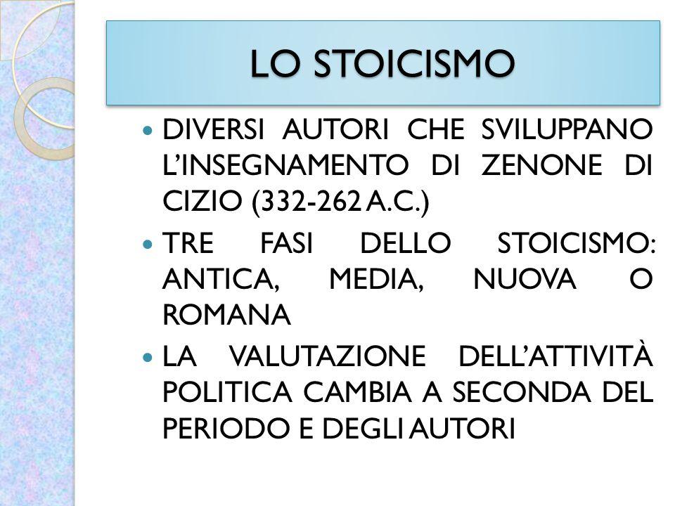 LO STOICISMO DIVERSI AUTORI CHE SVILUPPANO L'INSEGNAMENTO DI ZENONE DI CIZIO (332-262 A.C.)
