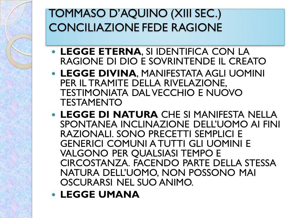 TOMMASO D'AQUINO (XIII SEC.) CONCILIAZIONE FEDE RAGIONE