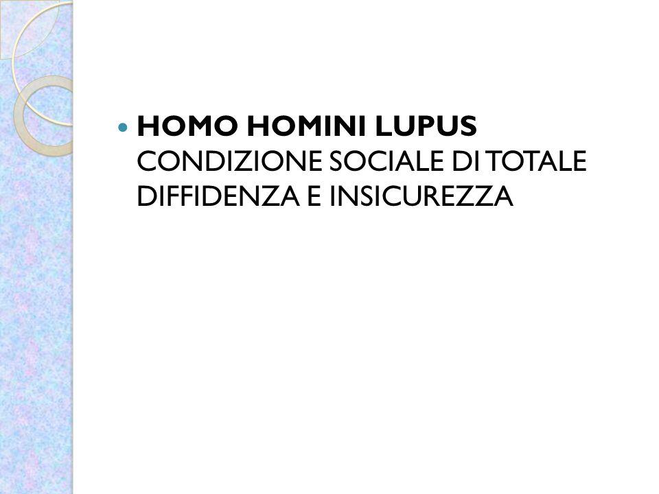 HOMO HOMINI LUPUS CONDIZIONE SOCIALE DI TOTALE DIFFIDENZA E INSICUREZZA