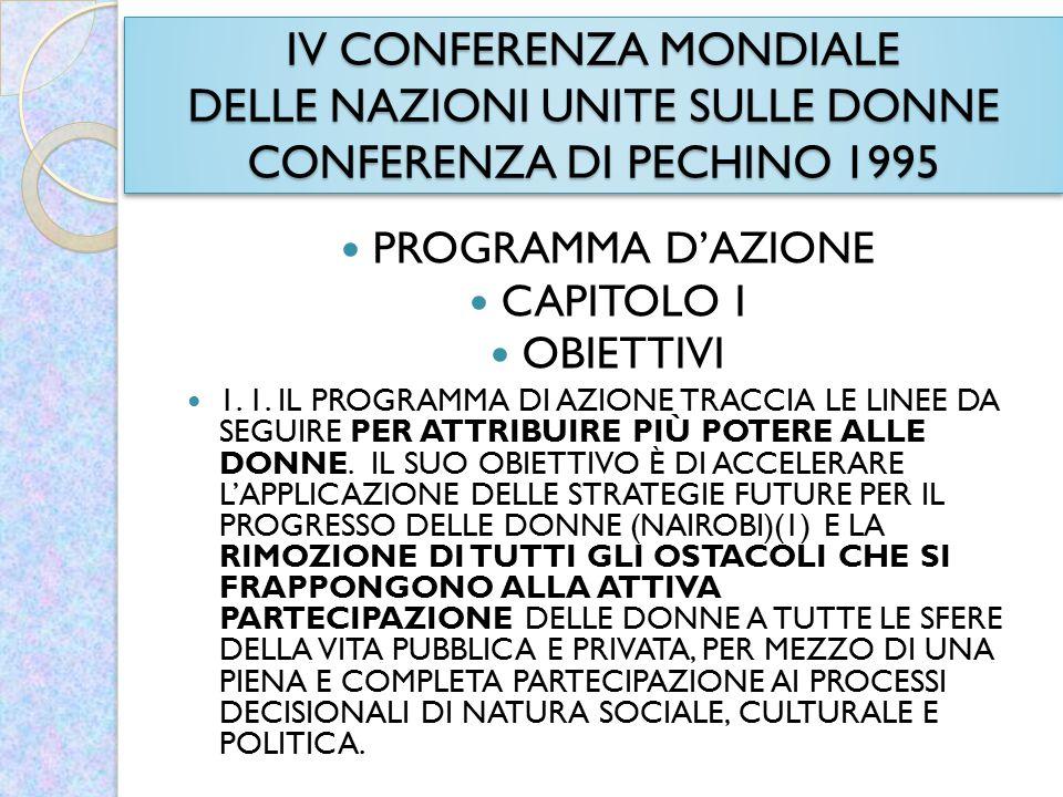 IV CONFERENZA MONDIALE DELLE NAZIONI UNITE SULLE DONNE CONFERENZA DI PECHINO 1995