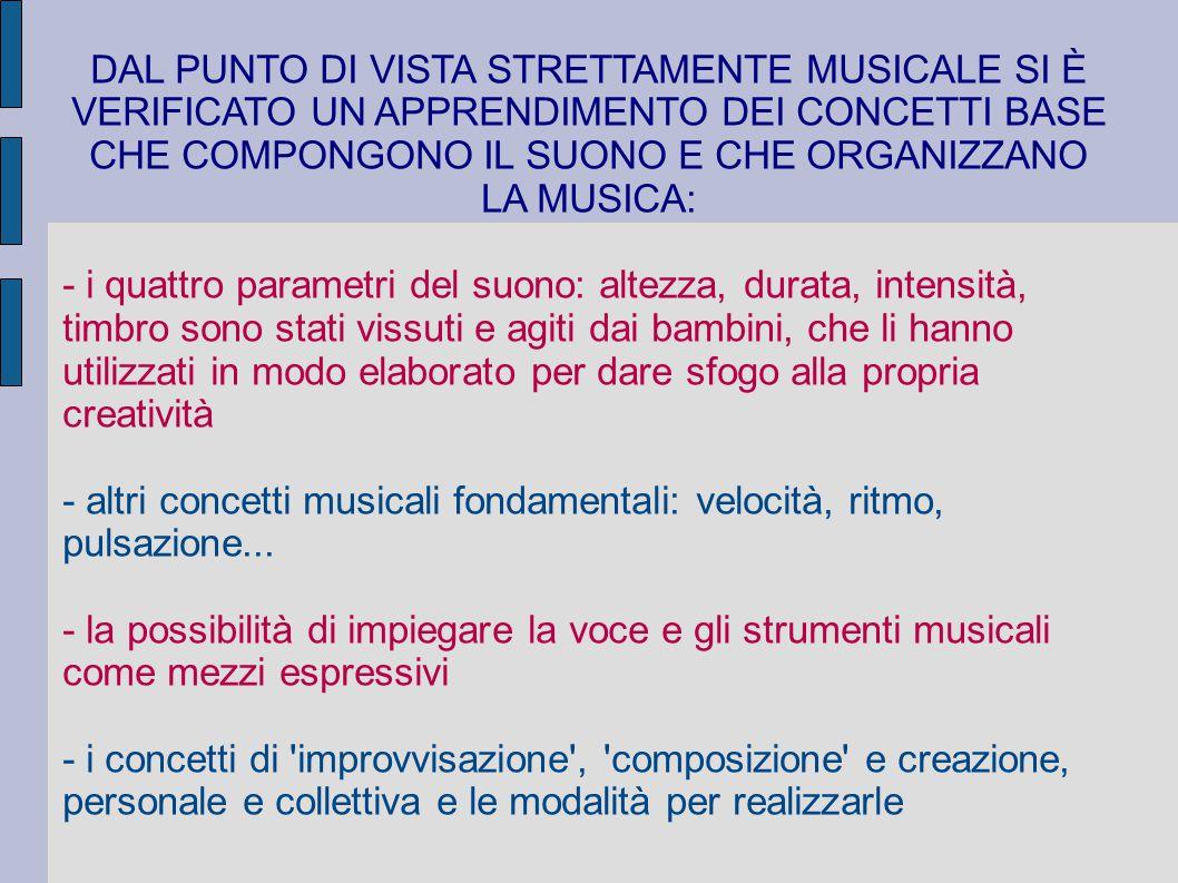 DAL PUNTO DI VISTA STRETTAMENTE MUSICALE SI È VERIFICATO UN APPRENDIMENTO DEI CONCETTI BASE CHE COMPONGONO IL SUONO E CHE ORGANIZZANO LA MUSICA: