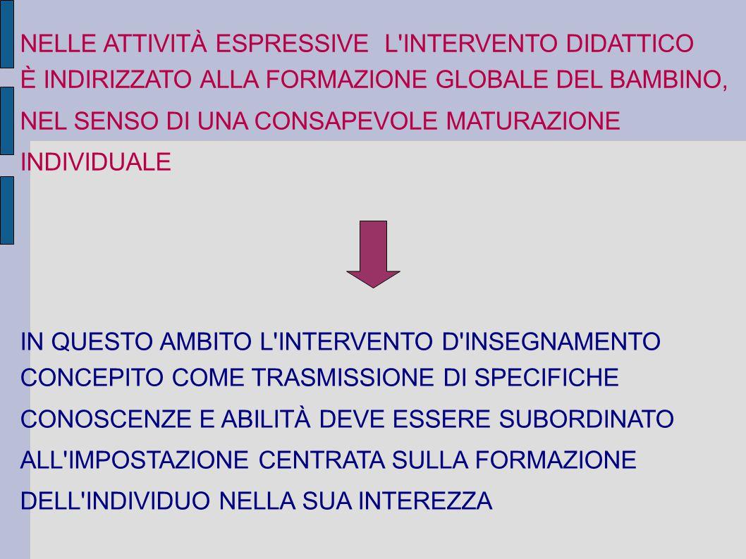 NELLE ATTIVITÀ ESPRESSIVE L INTERVENTO DIDATTICO