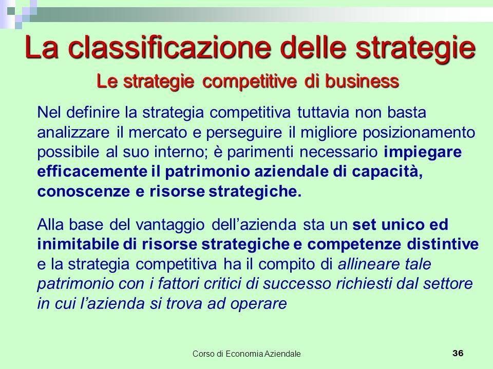 La classificazione delle strategie