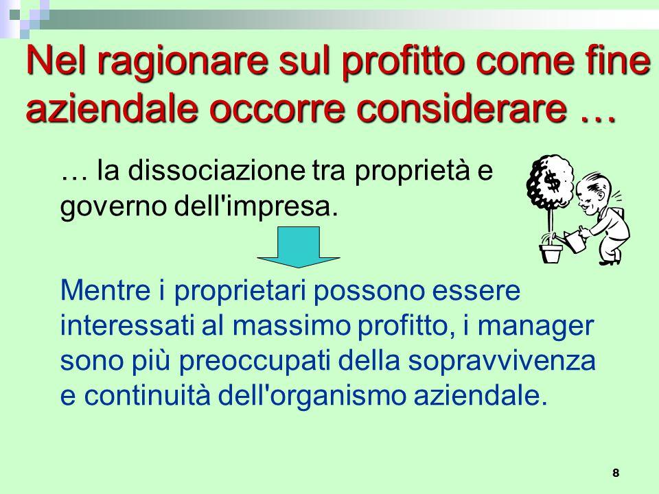 Nel ragionare sul profitto come fine aziendale occorre considerare …