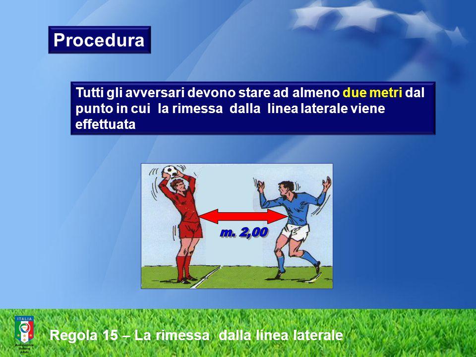 Procedura m. 2,00 Regola 15 – La rimessa dalla linea laterale