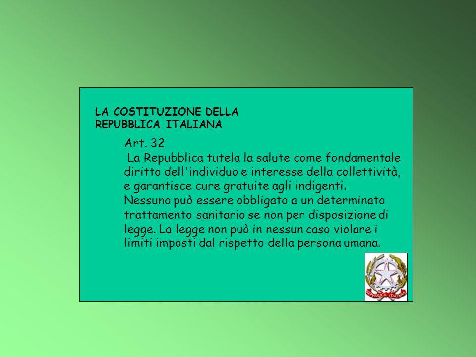 LA COSTITUZIONE DELLA REPUBBLICA ITALIANA. Art. 32.