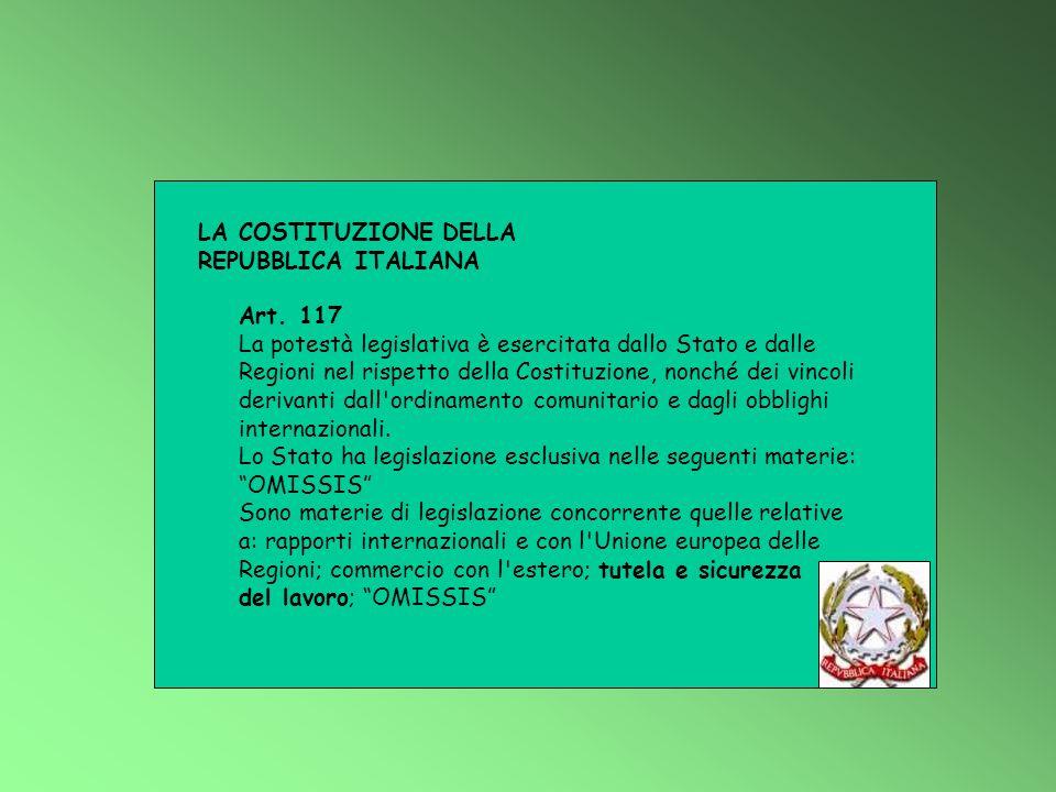LA COSTITUZIONE DELLA REPUBBLICA ITALIANA. Art. 117.