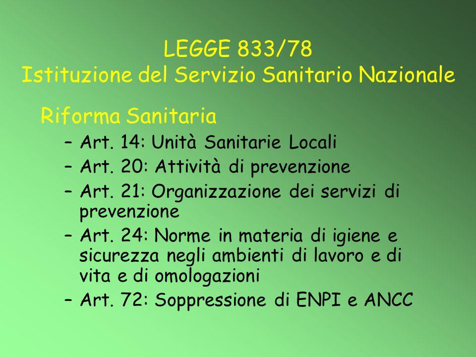 LEGGE 833/78 Istituzione del Servizio Sanitario Nazionale