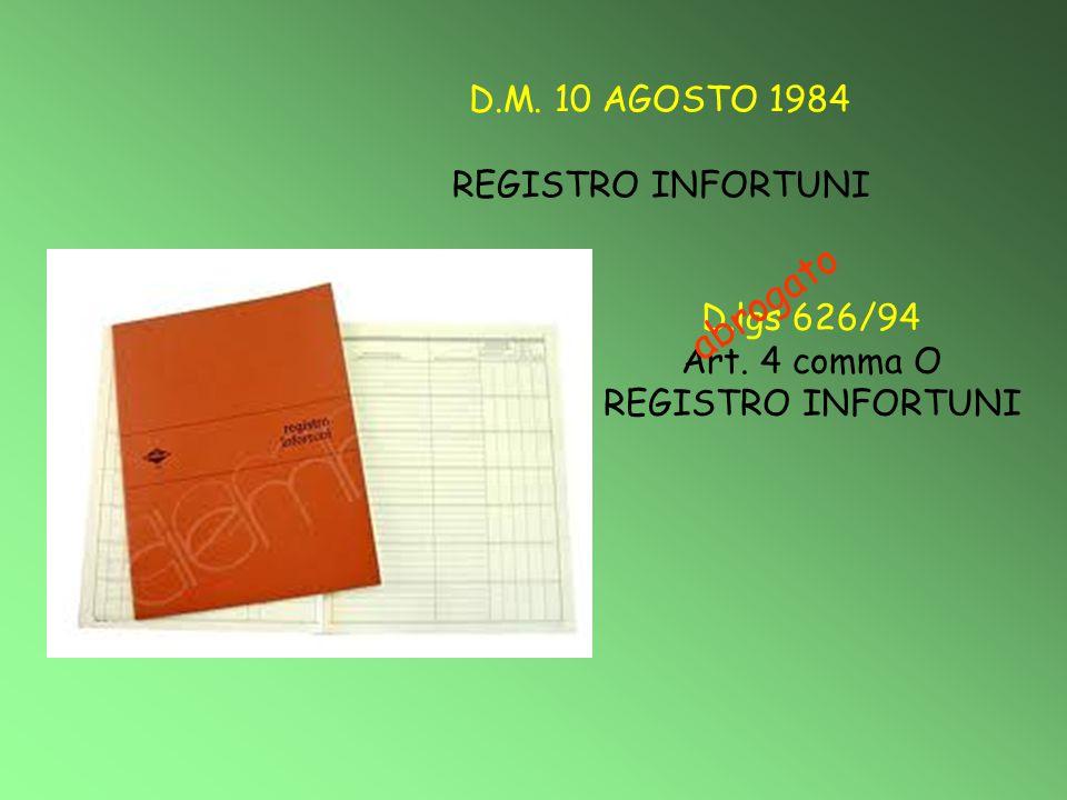 abrogato D.M. 10 AGOSTO 1984 REGISTRO INFORTUNI D.lgs 626/94