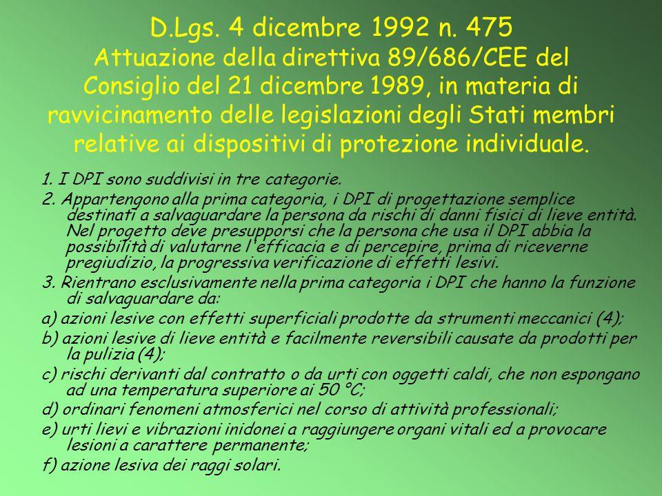 D.Lgs. 4 dicembre 1992 n. 475 Attuazione della direttiva 89/686/CEE del Consiglio del 21 dicembre 1989, in materia di ravvicinamento delle legislazioni degli Stati membri relative ai dispositivi di protezione individuale.
