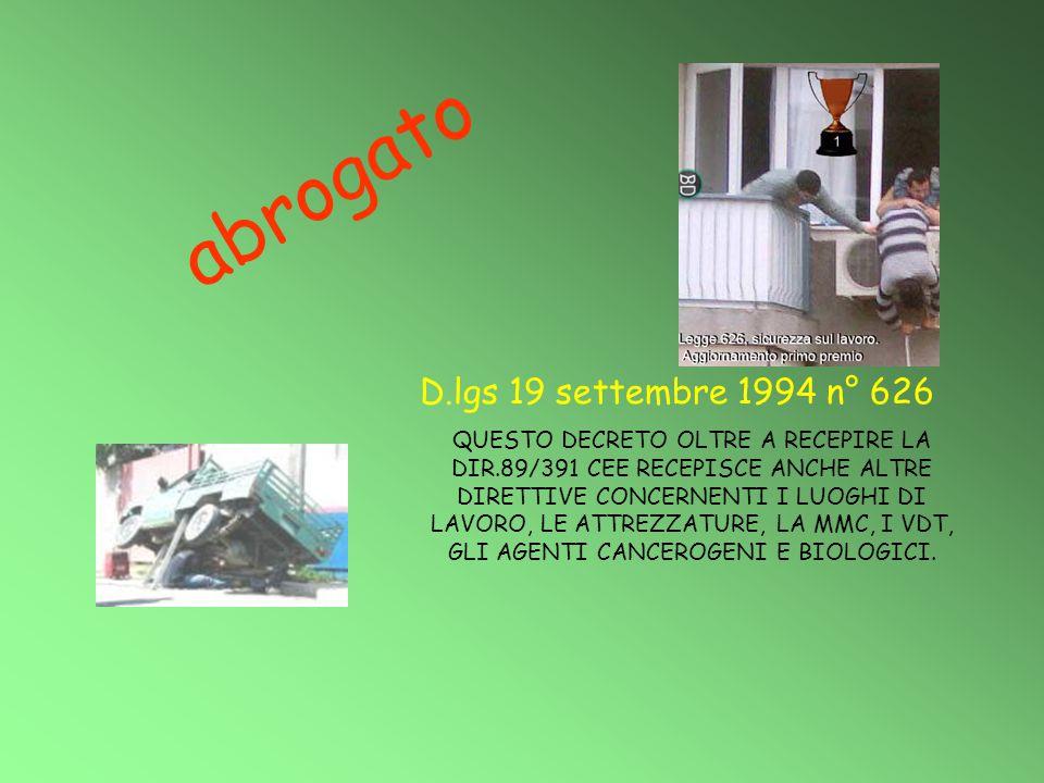 abrogato D.lgs 19 settembre 1994 n° 626