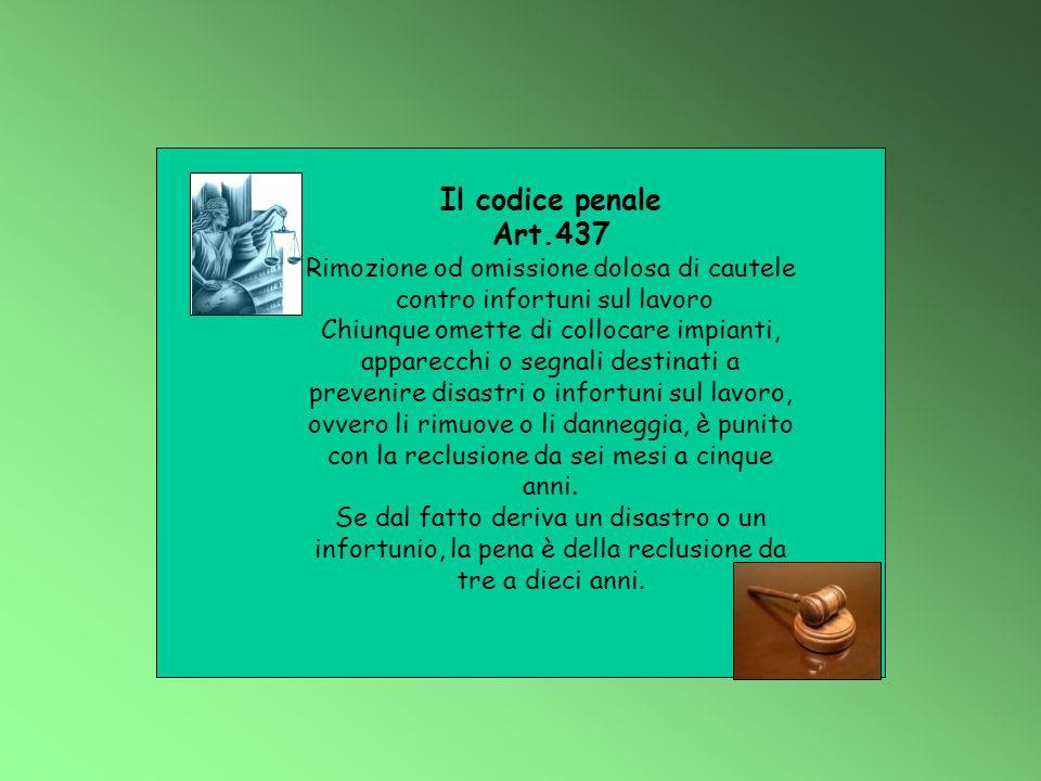 Il codice penale Art.437 Rimozione od omissione dolosa di cautele