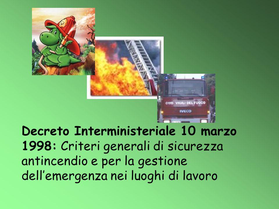 Decreto Interministeriale 10 marzo 1998: Criteri generali di sicurezza antincendio e per la gestione dell'emergenza nei luoghi di lavoro