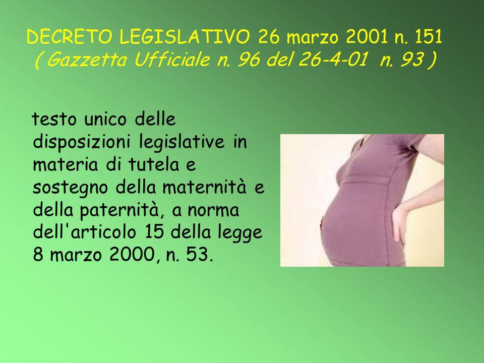 DECRETO LEGISLATIVO 26 marzo 2001 n. 151 ( Gazzetta Ufficiale n