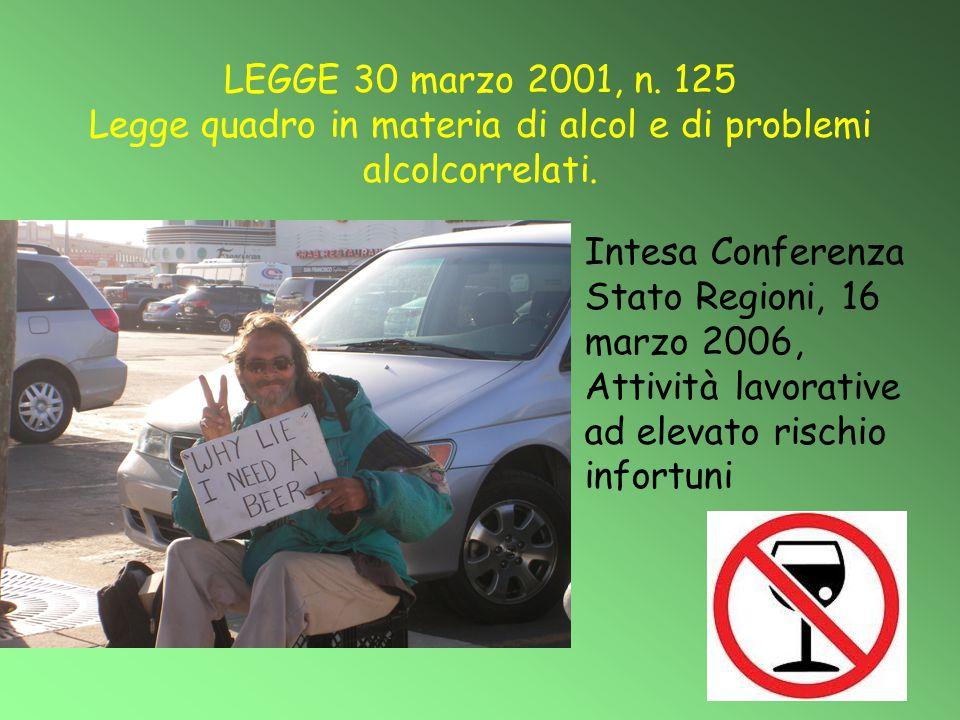 LEGGE 30 marzo 2001, n. 125 Legge quadro in materia di alcol e di problemi alcolcorrelati.