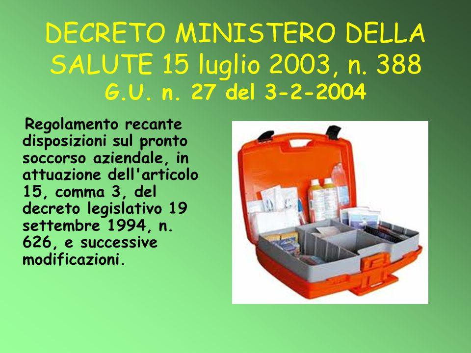 DECRETO MINISTERO DELLA SALUTE 15 luglio 2003, n. 388 G. U. n