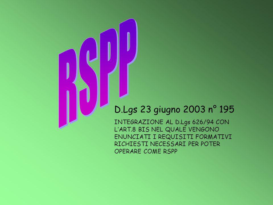 RSPP D.Lgs 23 giugno 2003 n° 195.
