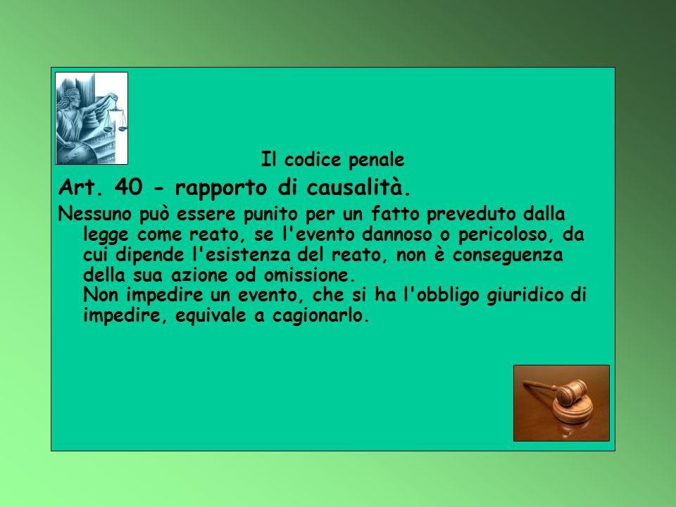 Art. 40 - rapporto di causalità.