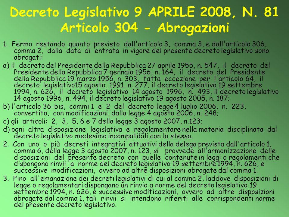 Decreto Legislativo 9 APRILE 2008, N. 81 Articolo 304 - Abrogazioni