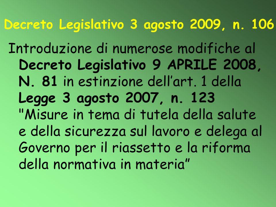 Decreto Legislativo 3 agosto 2009, n. 106