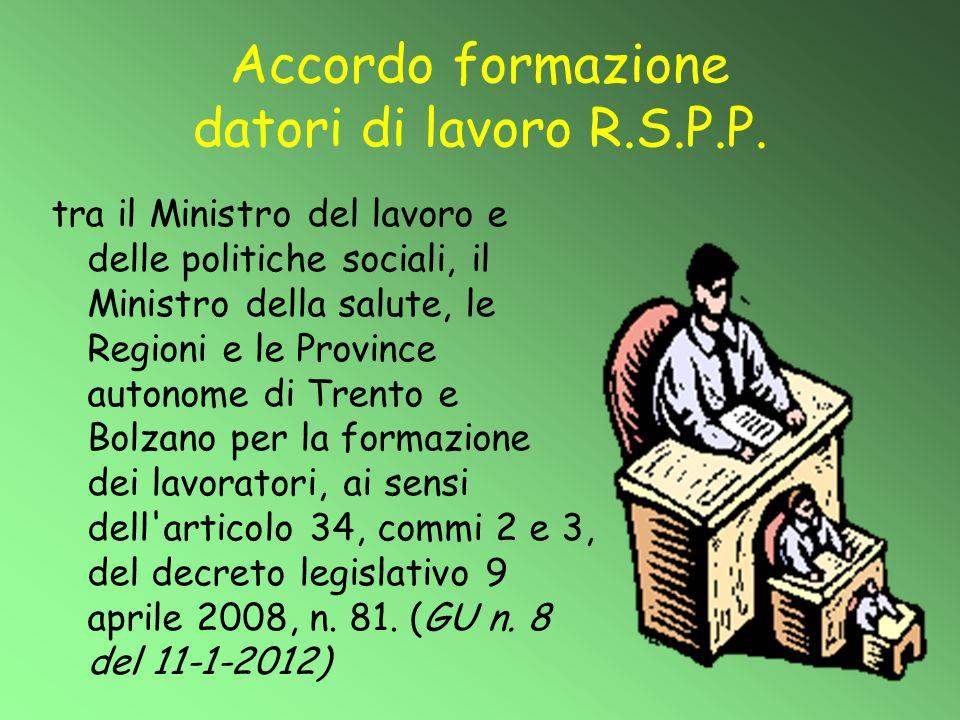 Accordo formazione datori di lavoro R.S.P.P.