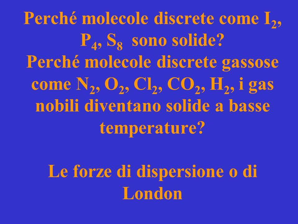 Perché molecole discrete come I2, P4, S8 sono solide